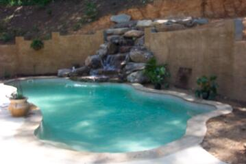Fiberglass Pool w/ Rock Waterfall